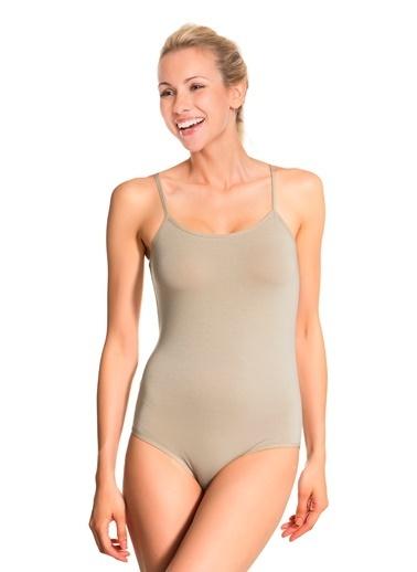 Doremi İnce Askılı Modal Çıtçıtlı Body Bej